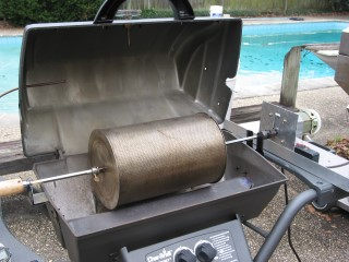 Open grill with my gearmotor drive assembly